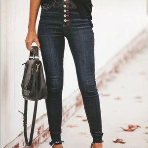 Denim - High Waisted Button Front Skinny Jeans Blue/Black